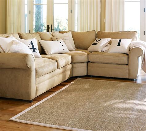 pottery barn sectional pearce upholstered 3 sectional with wedge pottery