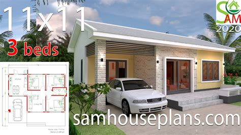 Simple House Plans 11x11 with 3 Bedrooms SamHousePlans