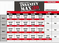 Monthly Calendar For Insanity Workout – 2018 Calendar Template