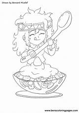 Salad Fruit Coloring Pages Drawing Healthy Eating Getdrawings sketch template