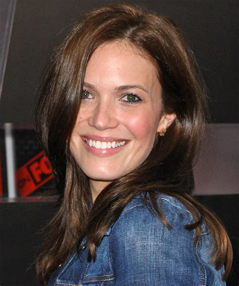 mandy moore casual long straight hairstyle dark