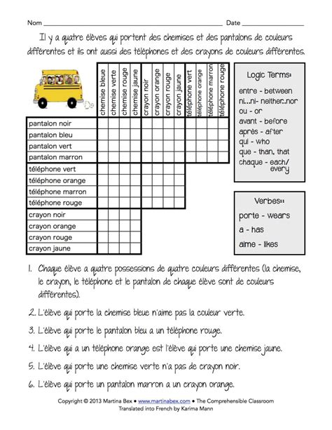 Logic Puzzle In French  The Comprehensible Classroom