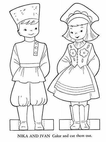 Children Coloring Russia Around Printable Paper Dolls