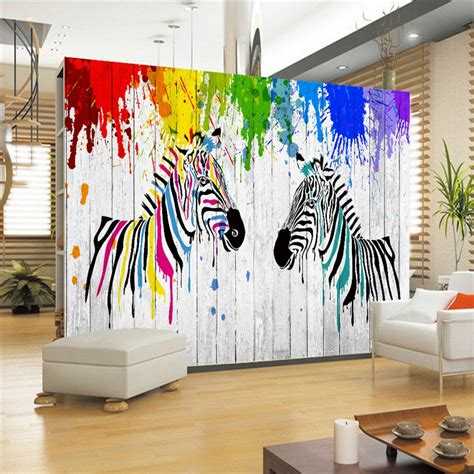 hand painted wall murals zebra striped woods wallpapers