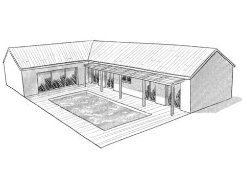 plan maison en l 4 chambres plan maison plain pied avec toit terrasse ooreka