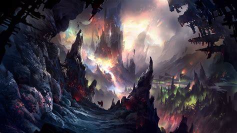 fantasy art illustration colorful painting cave