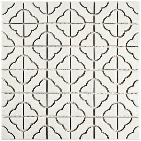 small white mosaic tiles merola tile palace white 11 3 4 in x 11 3 4 in x 5 mm porcelain mosaic tile fxlpalw the home