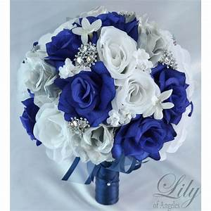 NAVY BLUE SILVER WHITE - Bouquets / Corsages / Boutonnieres