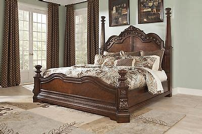 ashley ledelle  world cherry wood king queen poster bed