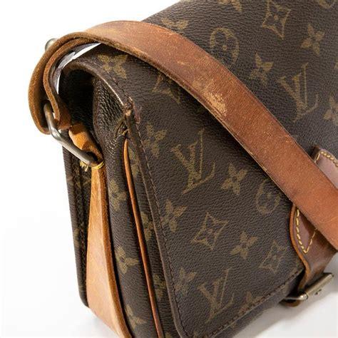louis vuitton vintage brown monogram canvas  natural leather satchel bag  stdibs