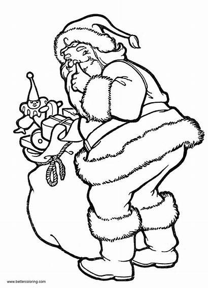 Coloring Christmas Pages Santa Toys Printable Adults