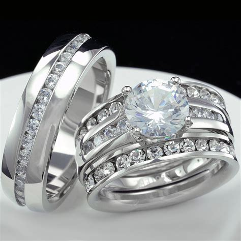 women engagement wedding ring set and men wedding bridal