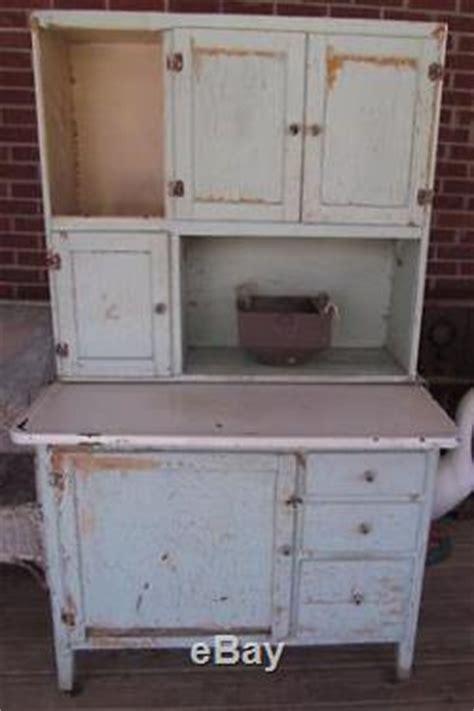 Antique Ivy Green Farmhouse Kitchen Hoosier Cabinet Flour Bin