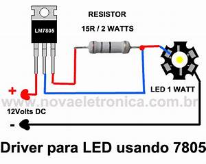 led driver for using the regulator 7805 With 1w led driver