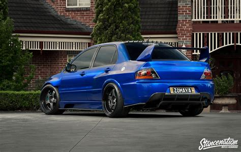modified mitsubishi lancer mitsubishi lancer evo ix blue cars sedan modified