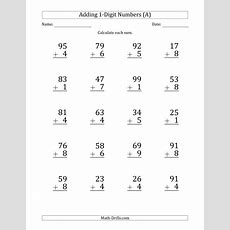 Large Print 2digit Plus 1digit Addition With Some Regrouping (a