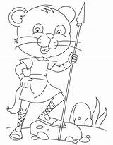 Spear Template Coloring Cat Courageous sketch template
