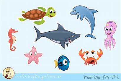 Sea Animals Clipart Underwater Under Characters Creatures