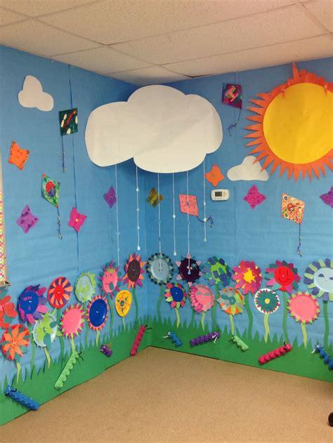 spring wall paper plate flowers foam butterflys kites
