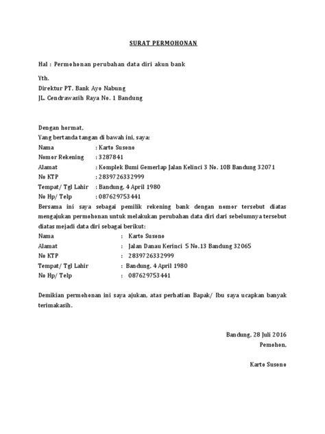 contoh surat permohonan perubahan data diri  bank
