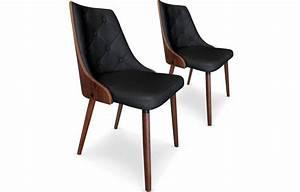 Chaise Vintage Cuir : lot de 2 chaises bicolore en bois et simili cuir cadixa 5 coloris decome store ~ Teatrodelosmanantiales.com Idées de Décoration