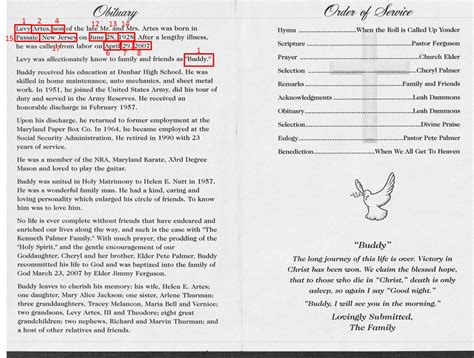 obituary program template 9 best images of sle obituary funeral program templates funeral program obituary template