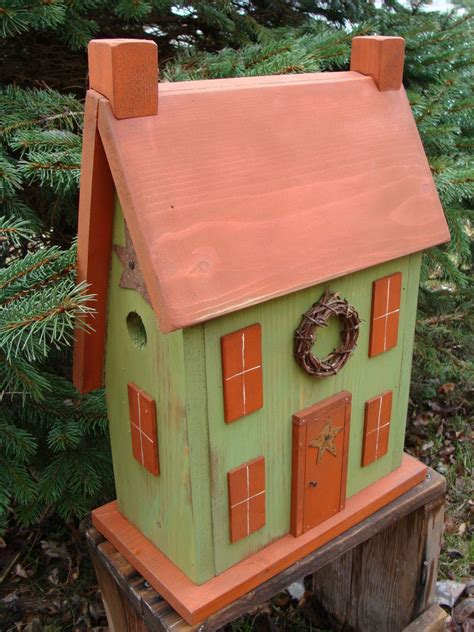 Saltbox Birdhouse Orange Lime Primitive Rusty Shabby