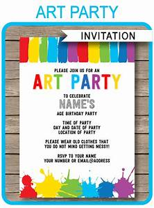 Art Party Invitations Paint Party Template