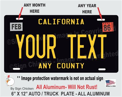 California Licence Plate Search by California Black Your Text Personalized Custom Aluminum