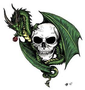 Dragon Skull and Roses Tattoo