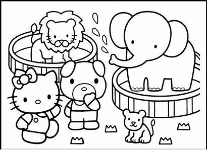 Zoo Coloring Animals Pages Hello Kitty