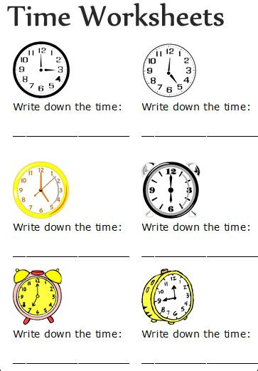 time worksheets  prek elementary schools  time