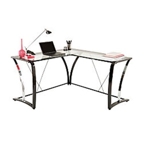 brenton studio evanti glass l desk by office depot officemax