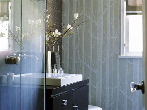 wallpaper bathroom designs woods wallpaper contemporary bathroom erinn v design