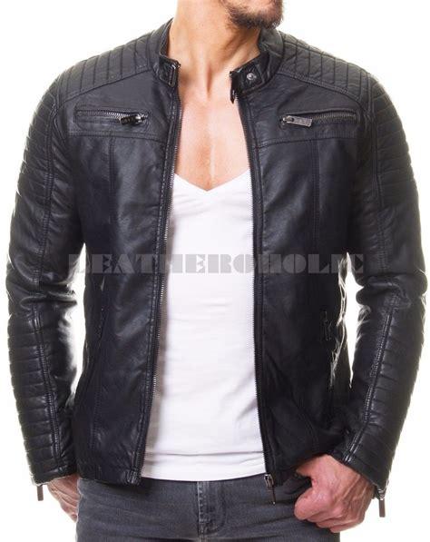 real leather motorcycle jackets mens vintage black genuine leather jacket slim fit real