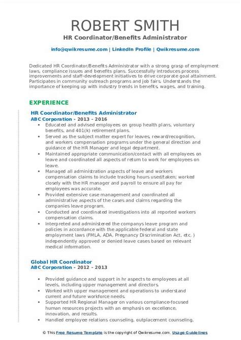 Hr Coordinator Resume by Hr Coordinator Resume Sles Qwikresume