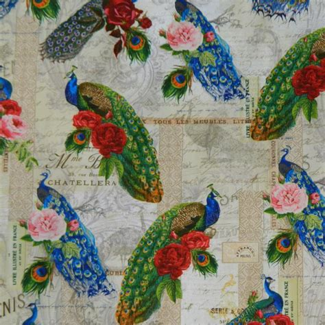 patchwork quilting fabric peacock parade material sewing
