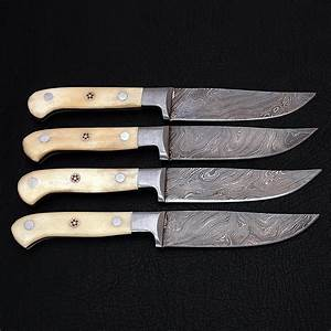 Damascus, Steak, Knife, Set, 4, Piece, 9110-sbh, -, Black, Forge, Knives