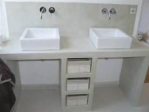 fabriquer meuble salle de bain siporex double plan With fabriquer meuble salle de bain beton cellulaire