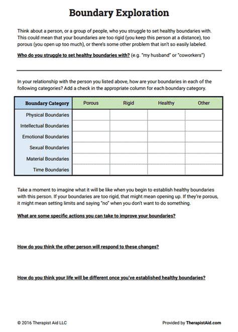 boundaries exploration worksheet therapist aid