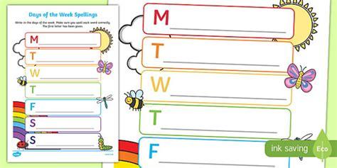 days   week spelling worksheet worksheet esl
