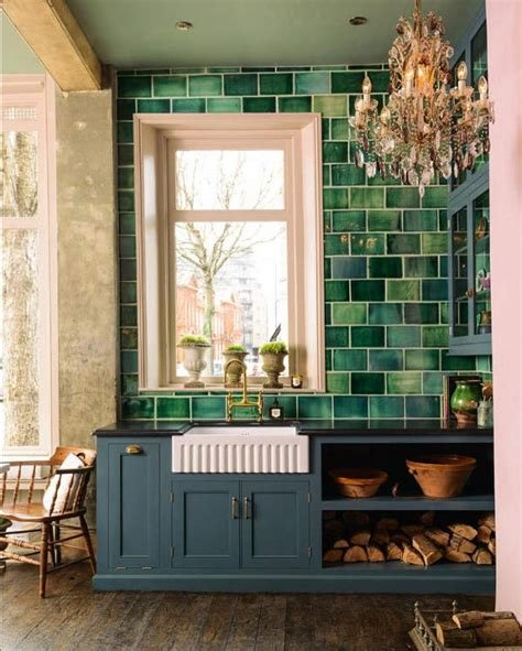 english country kitchen  handmade green tiles digsdigs