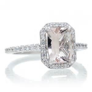 morganite 8x6 cushion halo engagement ring 14k white gold - Morganite Engagement Rings Gold