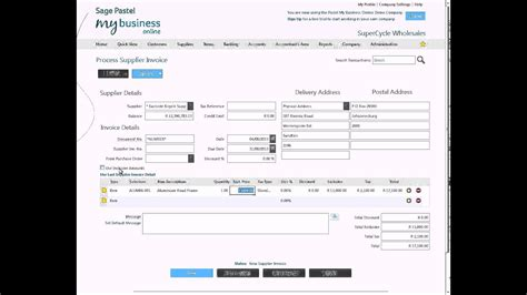 processing  supplier invoice  sage pastel  business
