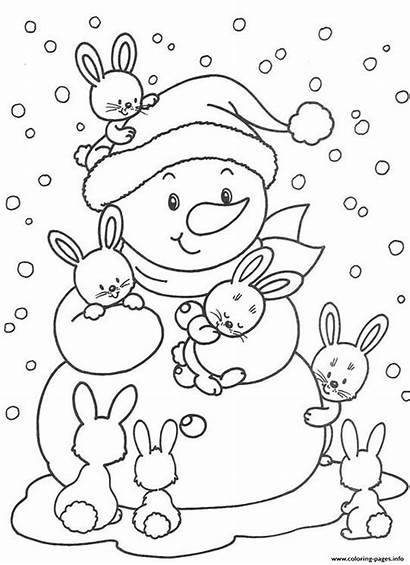 Coloring Snowman Winter Bunnies Pages Printable