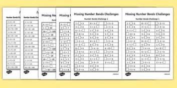 missing number bonds challenges worksheet worksheet missing number