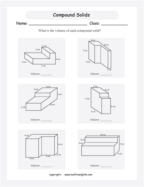 calculate the volume of these compound shapes and solids very challenging grade 6 math worksheet