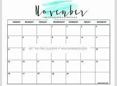 Free Printable November 2017 Calendar 12 Beautiful Designs!