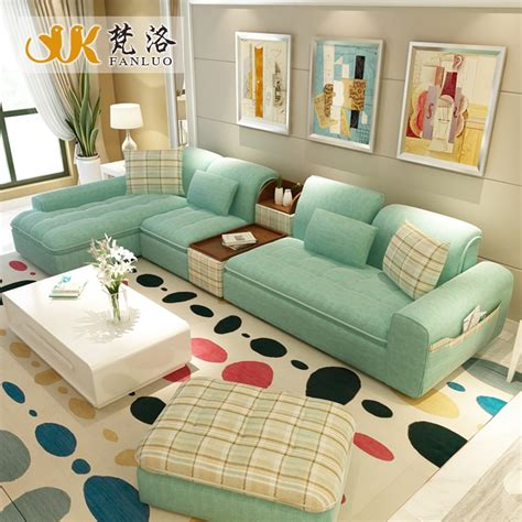 living room furniture modern  shaped fabric sectional