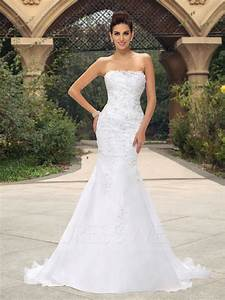 strapless mermaid appliques sequins court train wedding With wedding dresses with sequins